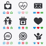Love, valentine day icons. Target with heart Royalty Free Stock Images
