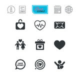 Love, valentine day icons. Target with heart. Royalty Free Stock Image