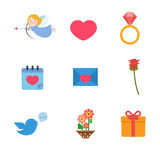 Love Valentine day wedding heart Cupid web app flat vector icon Royalty Free Stock Image