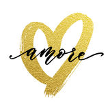 Love Valentine heart gold card Amore text Royalty Free Stock Photos