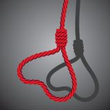 Love valentine heart shaped from noose of rope Royalty Free Stock Photos