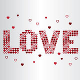 Love valentine heart text. LOVE vector - made out of little hearts Royalty Free Stock Photo