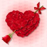 Love Valentine`s background with heart and rose Royalty Free Stock Photos