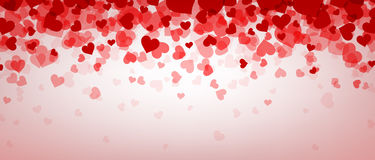 Love valentine`s banner with hearts. Love pink valentine`s banner with hearts. Vector illustration Stock Photography