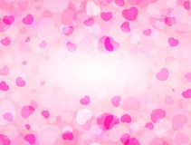 Love and Valentine`s Day background with pink hearts and space for text. Love frame. Vector background.  Stock Photography
