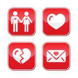 Love Valentine's Day buttons set Royalty Free Stock Images