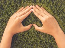 Retro woman hand in shape of heart on green grass background. royalty free stock images
