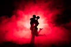 Love Valentine`s Day concept.Sillhouette of sweet young couple in love standing in the field and hugging on dark toned foggy backg. Round. Decoration with doll Stock Photos