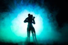 Love Valentine`s Day concept.Sillhouette of sweet young couple in love standing in the field and hugging on dark toned foggy backg. Round. Decoration with doll Royalty Free Stock Photos