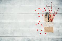 Love or valentine`s day concept with vintage cutlery royalty free stock images
