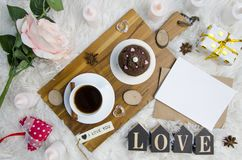 Love Valentine`s Day flat lay composition with romantic breakfast. Empty space. place for your text. Top view royalty free stock images