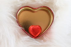 Heart box chocolate fur Royalty Free Stock Images