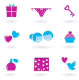 Love and Valentine's day icons and symbols Royalty Free Stock Photos