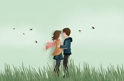 Love and valentine`s Day. Illustration of love and valentine`s Day,  with couple standing hugging on a grass field with pink bicycle and heart shaped balloon Stock Photography