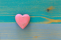 Love Valentine's Heart on Wooden Texture Painted Board Backgroun