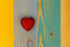 Love Valentine's Heart on Wooden Texture Painted Board Backgroun Stock Image
