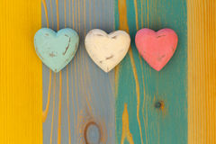 Love Valentine's Hearts on Wooden Texture Painted Board Backgrou Stock Image