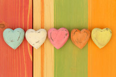 Love Valentine's Hearts on Wooden Texture Painted Board Backgrou Royalty Free Stock Photos