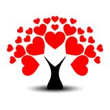 Love or Valentine`s tree with heart leaves and black trunk stock illustration