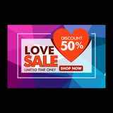 Love valentine sale discount 50 advertise vector. Design Stock Photography
