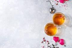 Love Valentine tea greeting card Stock Photo