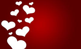 Love valentine with white hearts on red background Stock Image