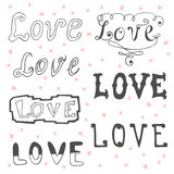 Love. Valentine&x27;s Day Typography Elements. Sketchy Doodles Desig Stock Photo