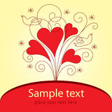 Love Valentinei card. With hearts and dove Stock Photos