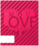 Love valentines card. Love valentines day card. blank card for message Royalty Free Stock Photo