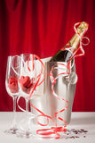 Love and Valentines: champagne ice bucket Royalty Free Stock Photo