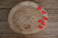 Love Valentines day background with red hearts. copy space on wo royalty free stock photo