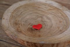 Love Valentines day background with red hearts. copy space on wooden table royalty free stock image