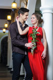 Love. Valentines Day. Beautiful couple in love with rose Stock Image