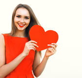 Love, valentines day and beauty concept - beautiful woman Royalty Free Stock Images