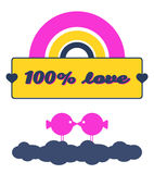 100% Love. Valentines day card that reads 100% love. It has a rainbow, a badge with two hearts and two birds kissing each other floating on the clouds stock illustration
