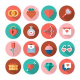 Love and Valentines day flat icons Stock Image