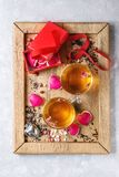Love Valentine tea greeting card Royalty Free Stock Images