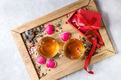 Love Valentine tea greeting card Royalty Free Stock Image