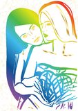 Love in Valentines day holiday lesbian women with heart. In erotic foreplay game. Vector illustration rainbow girl . Couple homosexual girlfriend cuddle on date vector illustration