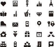 Love and Valentines Day icon set. Set of black and white icons relating to love and Valentines Day Stock Photography