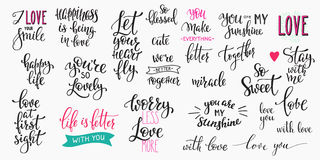 Love Valentines Day quote typography set. Romantic lettering set. Calligraphy postcard or poster graphic design typography element. Hand written  style happy Stock Image