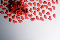 Love Valentines day romantic background. hearts and roses beautiful. royalty free stock photo