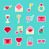 Love Valentines Day Stickers Stock Photography