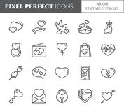 Love and Valentines Day theme line icons with editable stroke isolated on white background - vector illustration of pixel perfect. Outline symbols of stock illustration