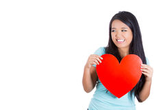 Love and valentines day woman holding heart smiling Royalty Free Stock Photography