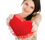 Love and valentines day woman holding heart. Smiling cute and adorable isolated Stock Image
