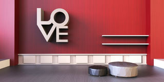 Love Valentines - Modern Living Room and Minimal chair on Red wall Royalty Free Stock Photography