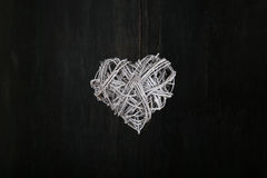 Love Valentines White Heart Shaped Wreath on Dark Background Stock Images