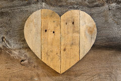 Love Valentines wooden heart on old Elm background Royalty Free Stock Images