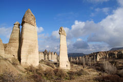 Love Valley. Landscape of pinnacles in Love Valley near Goreme, Turkey royalty free stock photo